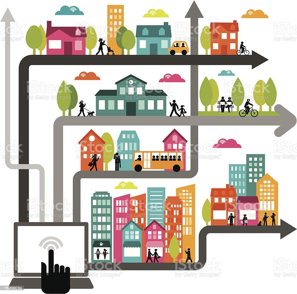 Urbana dinámica de red - ilustración de arte vectorial