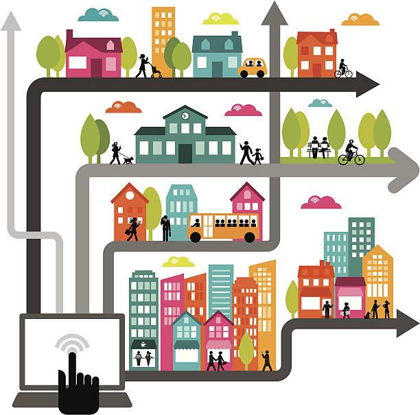 ilustraciones, imágenes clip art, dibujos animados e iconos de stock de urbana dinámica de red - autobuses escolares