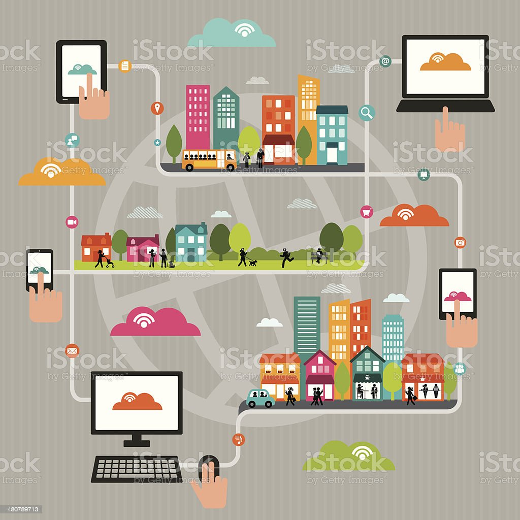 Dynamic WiFi City vector art illustration