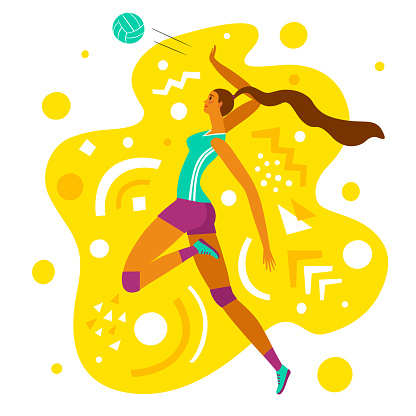 Dynamic woman volleyball player on decorative background.