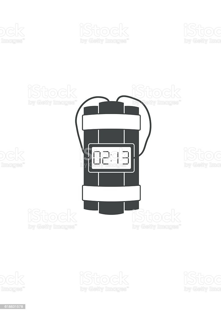 Dynamite bomb explosion icon with timer detonate and wire. vector art illustration
