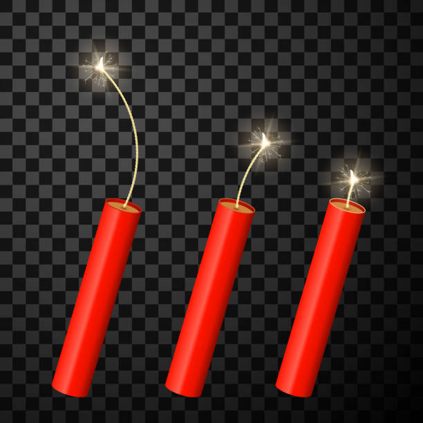 Dynamite firecrackers realistic isolated vector illustrations set Dynamite firecrackers realistic vector illustrations set. Red fireworks with burning fuse 3d cliparts. Sparkling fire crackers, dynamite checkers isolated on transparent background explosive fuse stock illustrations
