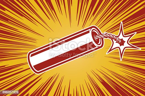 istock dynamite in comic book style. Design element for poster, flyer. Vector illustration 696357326