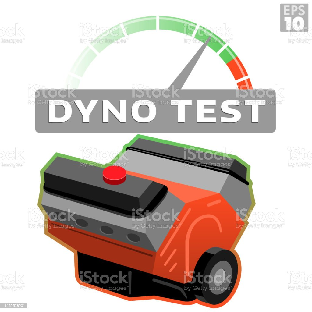 Dyno Test Car Engine Block With Rpm Tachometer Measuring Horsepower