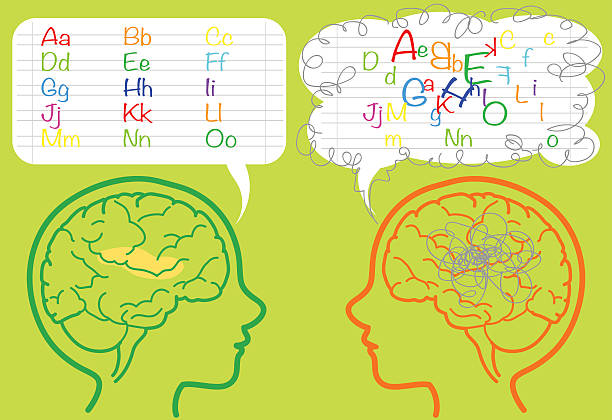 Dyslexia brain The brain of a dyslexic boy is puzzled and confused about letters. Vector illustration. learning difficulty stock illustrations