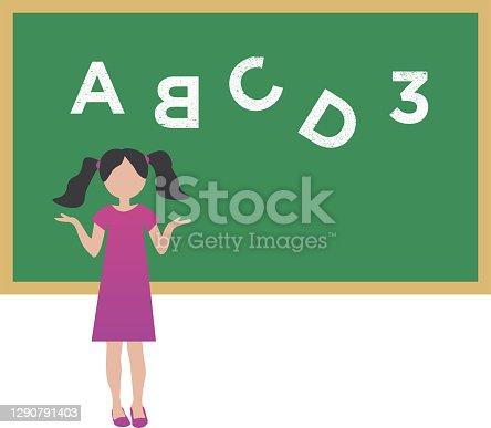 istock Dyslexia concept - girl with reading disorder 1290791403