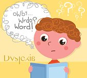 Dyslexic boy with book vector