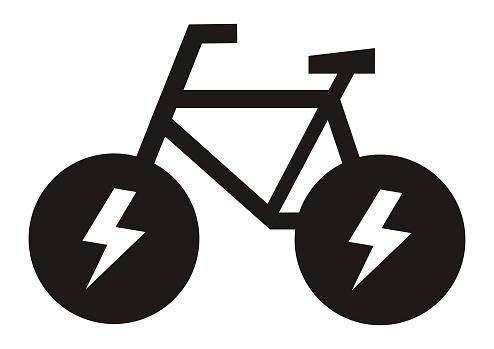 e bike, black vector icon