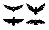 Eagle, a set of monochrome icons Vector illustration.