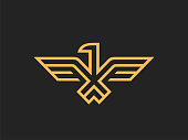 Eagle Abstract sign design vector template Linear style.