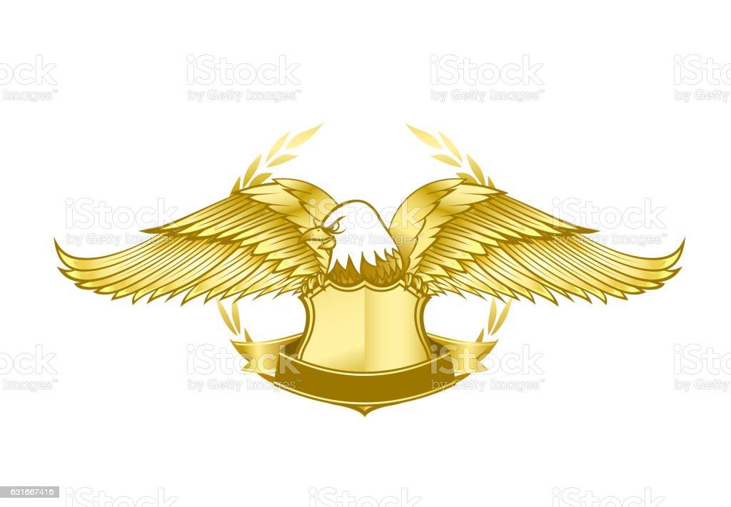 Eagle And Badge Symbol For Logo And Emblem Design Stock Vector Art