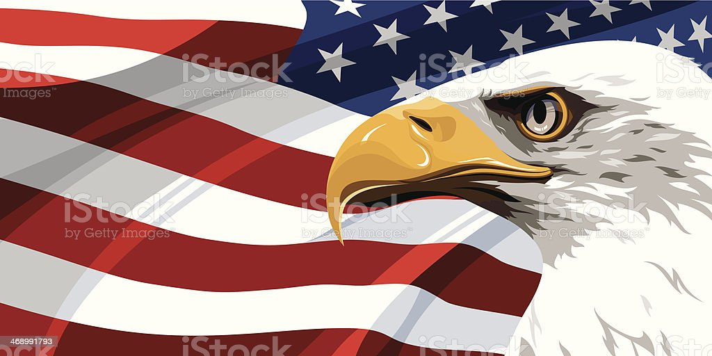 Eagle and flag of the United States of America