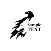 Eagle and wolf silhouette combined in negative space style - vector icon