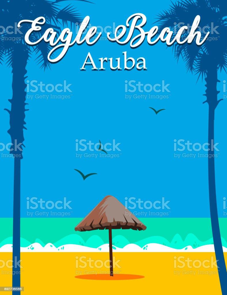 Eagle Beach Aruba vector art illustration