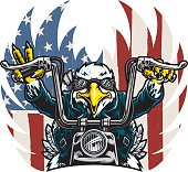 This is an illustration of an American Eagle Biker of Freedom. The flag wings in the background are on a separate layer. Some small gradients but can easily be reduced down to a black and white flat color image. The file is provided as an Illustrator 10 EPS and a 300dpi high-rez jpg.