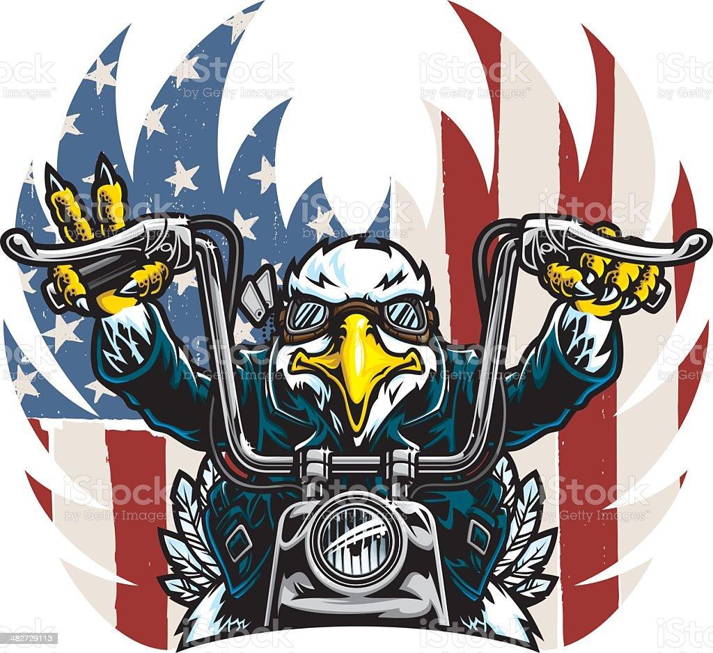 Eagle Biker Freedom vector art illustration