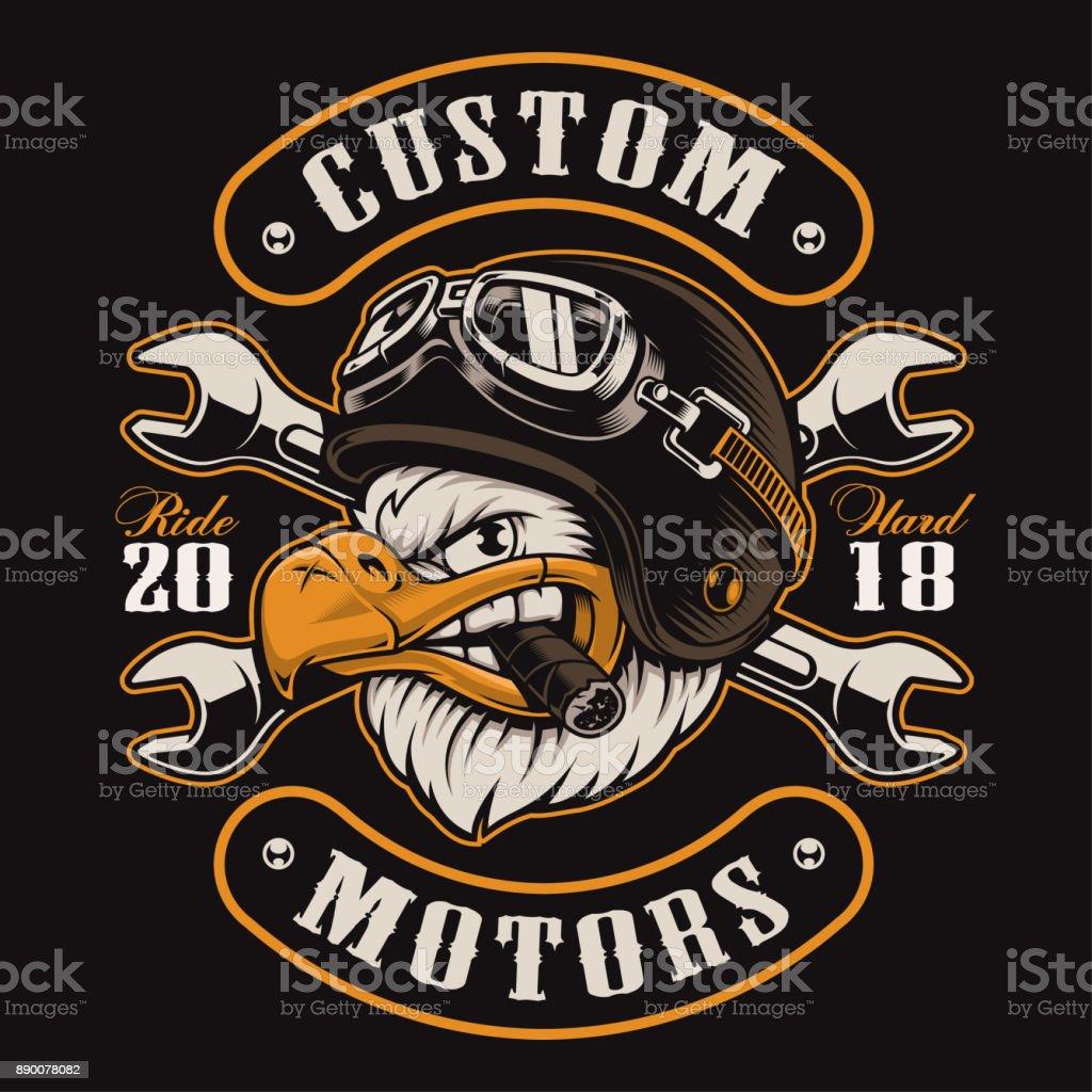 Eagle biker t-shirt design (color version) vector art illustration