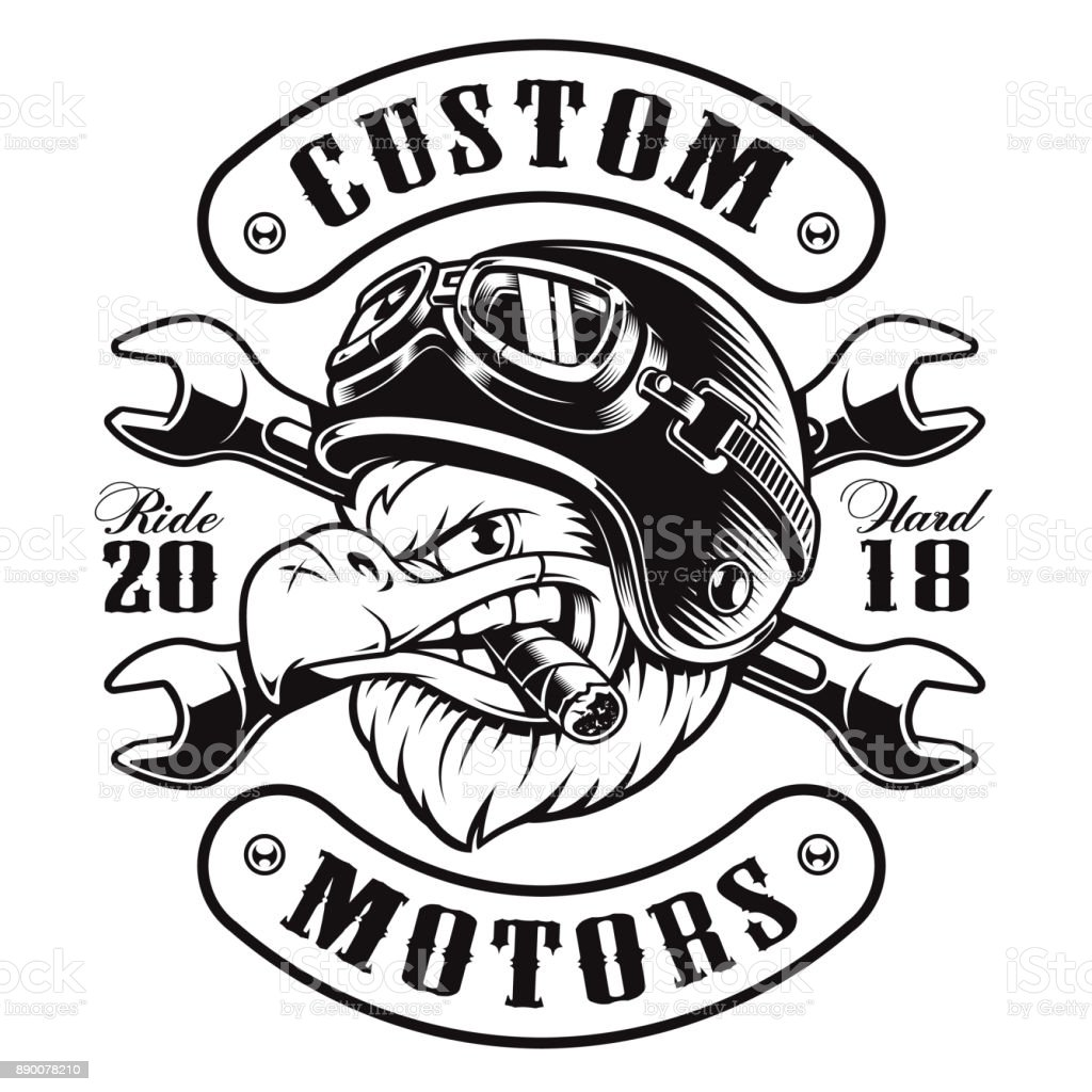 Line Art T Shirt Design : Eagle biker tshirt design stock vector art more images