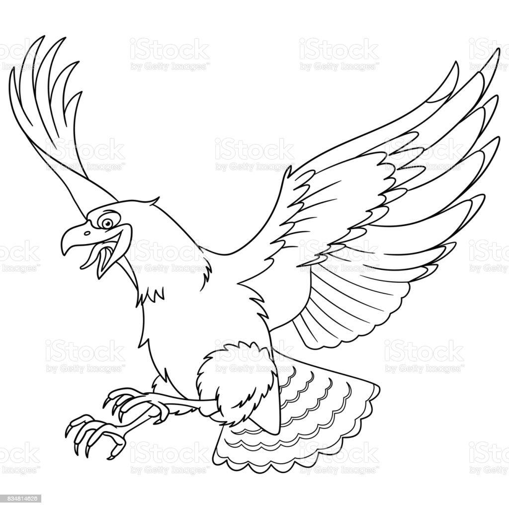 Kartal Kuş Boyama Stok Vektör Sanatı Animasyon Karakternin Daha