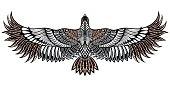 Eagle bird icon. Vector heraldic emblem of powerful wild falcon. Bird tattoo