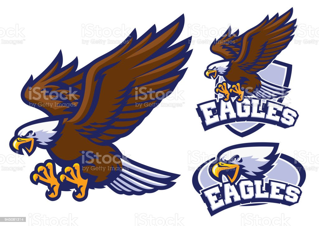 eagle character set in sport mascot style