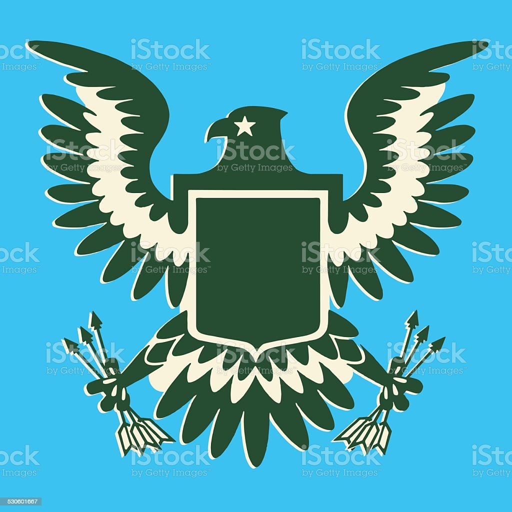 Eagle Clutching Arrows vector art illustration
