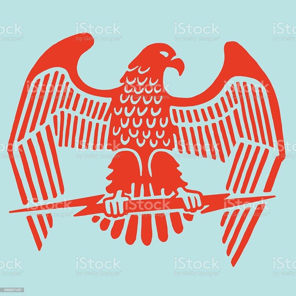 Eagle Clutching Lightning Bolt