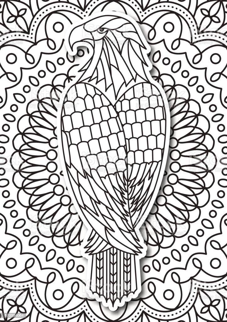 Adler Malvorlagen Für Erwachsene Im Ethnostil Vektor Hand