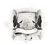 Grunge illustration of shield with eagle.  Contains 27 named layers, so is easy to edit. Illustration contains effects like drop shadow - eps prepared in ai10 format
