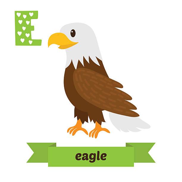 illustrations, cliparts, dessins animés et icônes de eagle. e lettre. joli enfants alphabet de vecteur animal. monstre drôle dene - enseignant(e) en maternelle