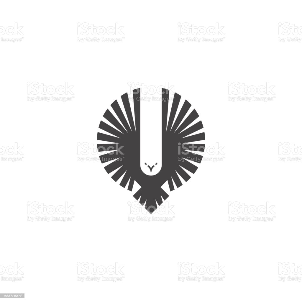 Eagle emblem, emblem of a flying hawk hunter, silhouette of a bird of predator with wings directed upwards in the style of negative space, design element template for printing on a T-shirt