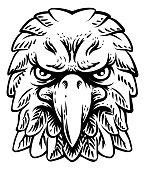 An eagle, falcon hawk or phoenix head face mascot in engraved style.