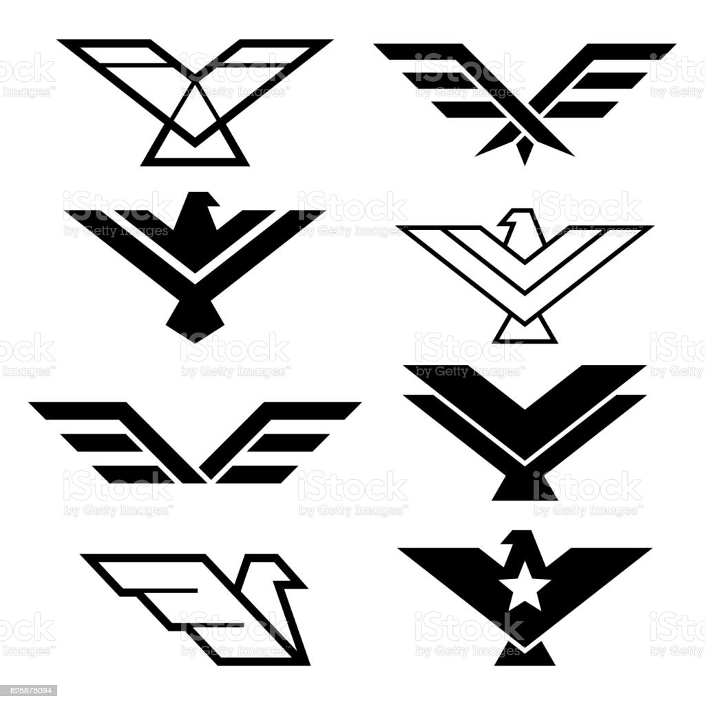 Eagle geometric design, eagle's wings vector icons set, eagles graphic elements - modern style
