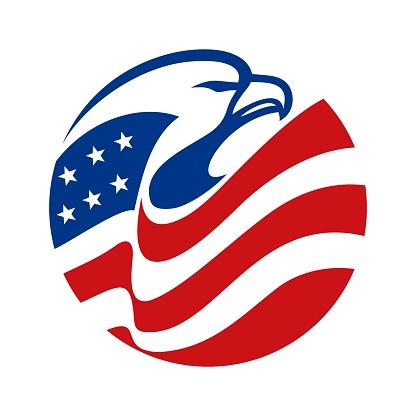 Eagle Head american flag circle abstract