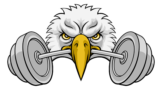 Eagle Head Barbell Lifting Weight Gym Mascot