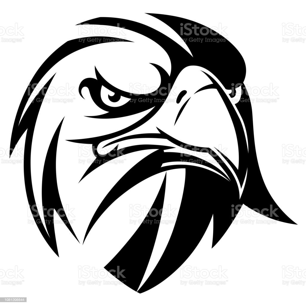 Eagle head black and white illustration
