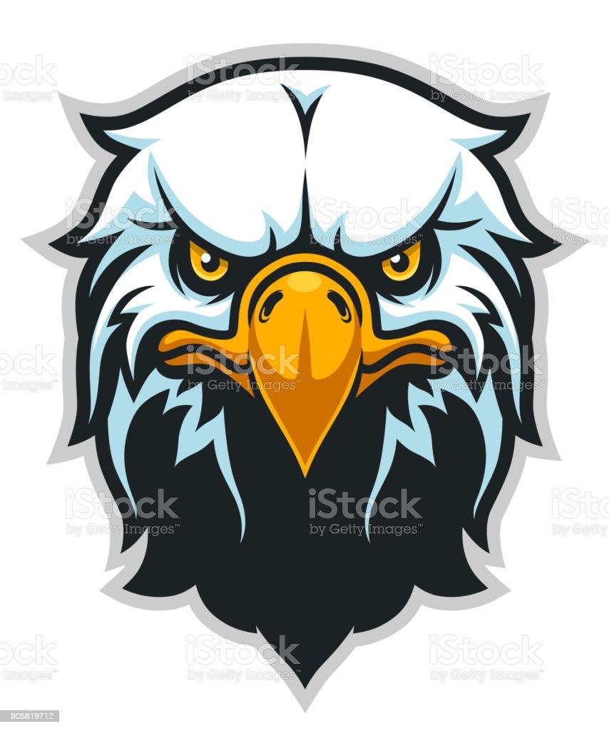 Simple frontal cabeza águila - ilustración de arte vectorial