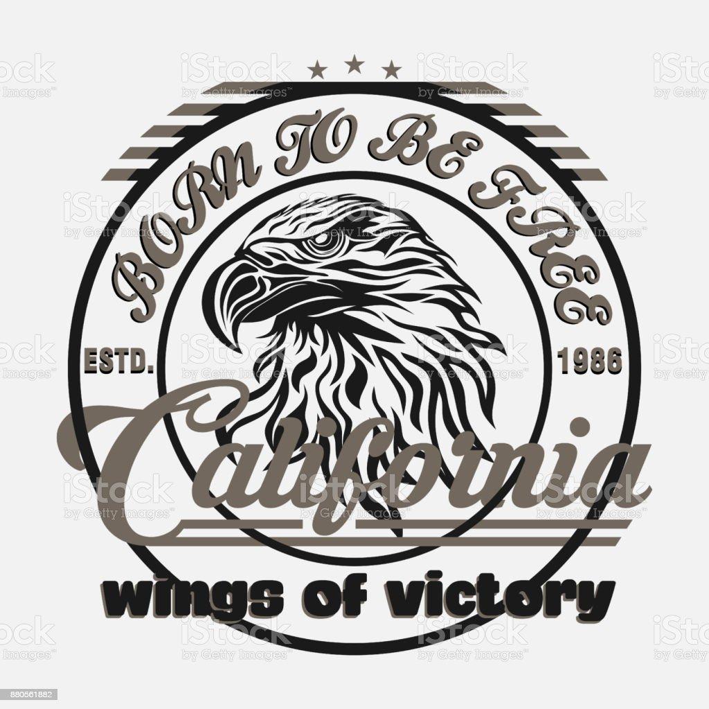 eagle head logo for t-shirt, sport wear typography