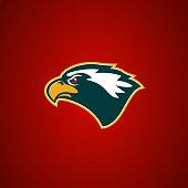 Eagle head sign. Design element for sport team  emblem, badge, mascot.