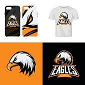 Eagle head sport club isolated vector icon concept.