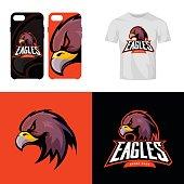 Eagle head sport club isolated vector icon concept