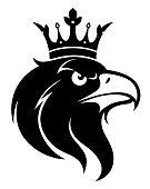 Black and white vector eagle head with crown.