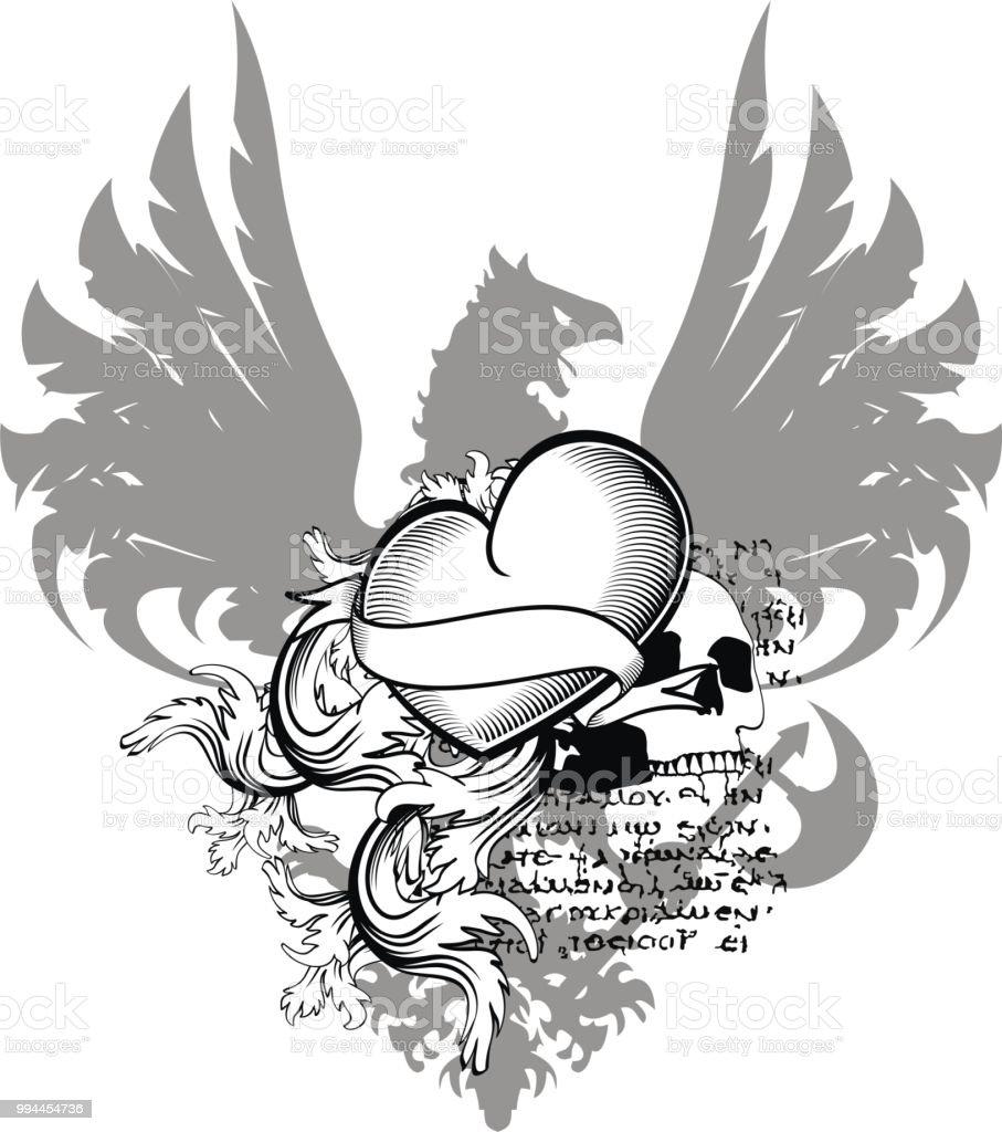 Ilustración De águila Heráldica Con Alas Del Tatuaje Del Corazón