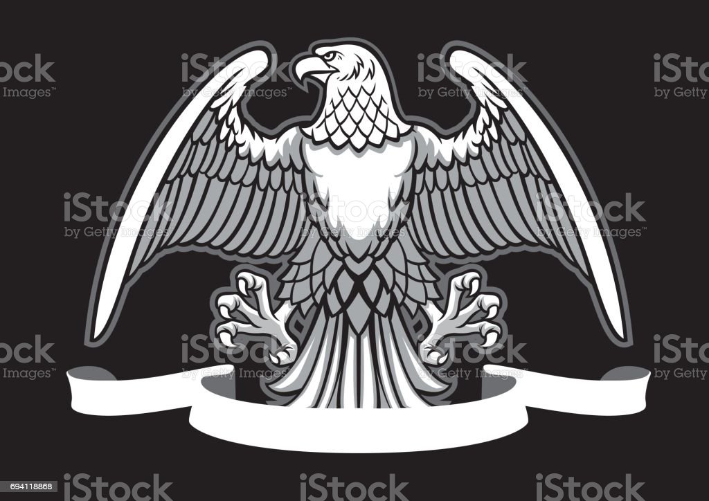 eagle heraldry with blank ribbon vector art illustration