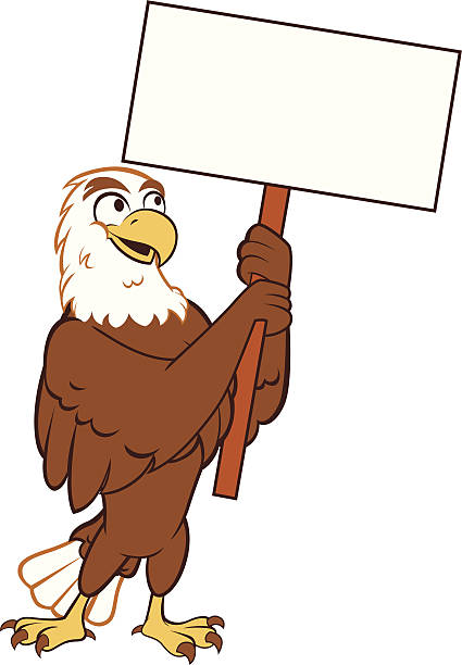 eagle - holding sign - eagle character stock illustrations, clip art, cartoons, & icons