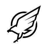 Eagle icon, emblem monochrome. Vector illustration