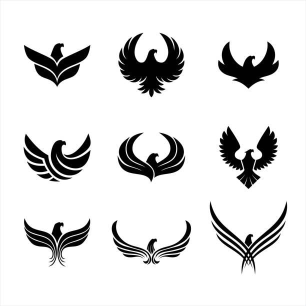 illustrations, cliparts, dessins animés et icônes de icônes d'aigle - aigle