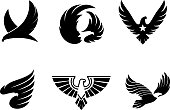 Eagle illustration, vector icon, , set of 6 eagles, eagle symbols