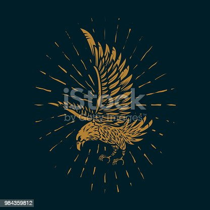 Eagle illustration in golden style on dark background. Design element for poster, card, sign, print. Vector image