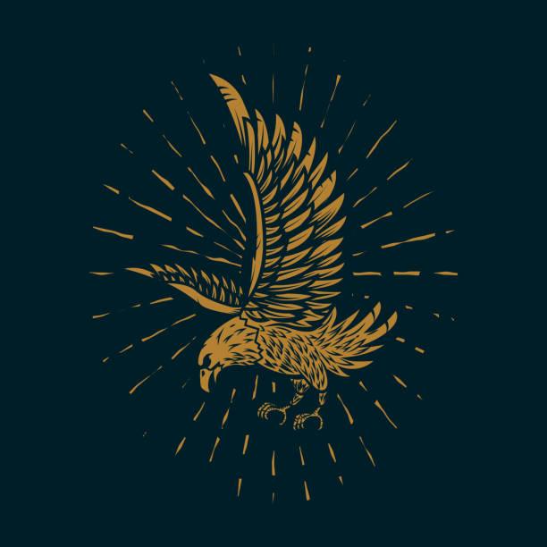 illustrations, cliparts, dessins animés et icônes de illustration dans le style doré sur fond sombre de l'aigle. élément de conception d'affiches, carte, panneau, impression. - tatouages ailes